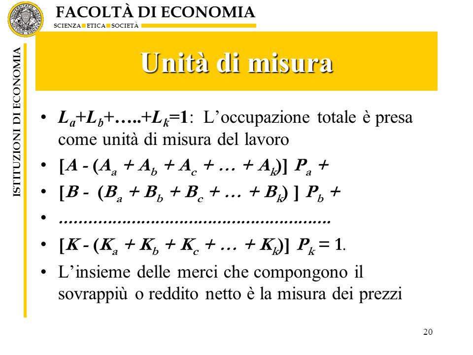 Unità di misura La+Lb+…..+Lk=1: L'occupazione totale è presa come unità di misura del lavoro. [A - (Aa + Ab + Ac + … + Ak)] Pa +